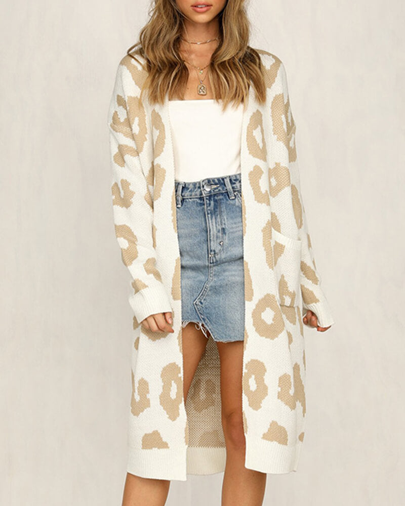 Leopard Knitted Long Cardigan