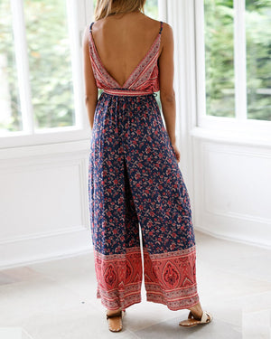 Navy And Red Mix Floral Print  Jumpsuit