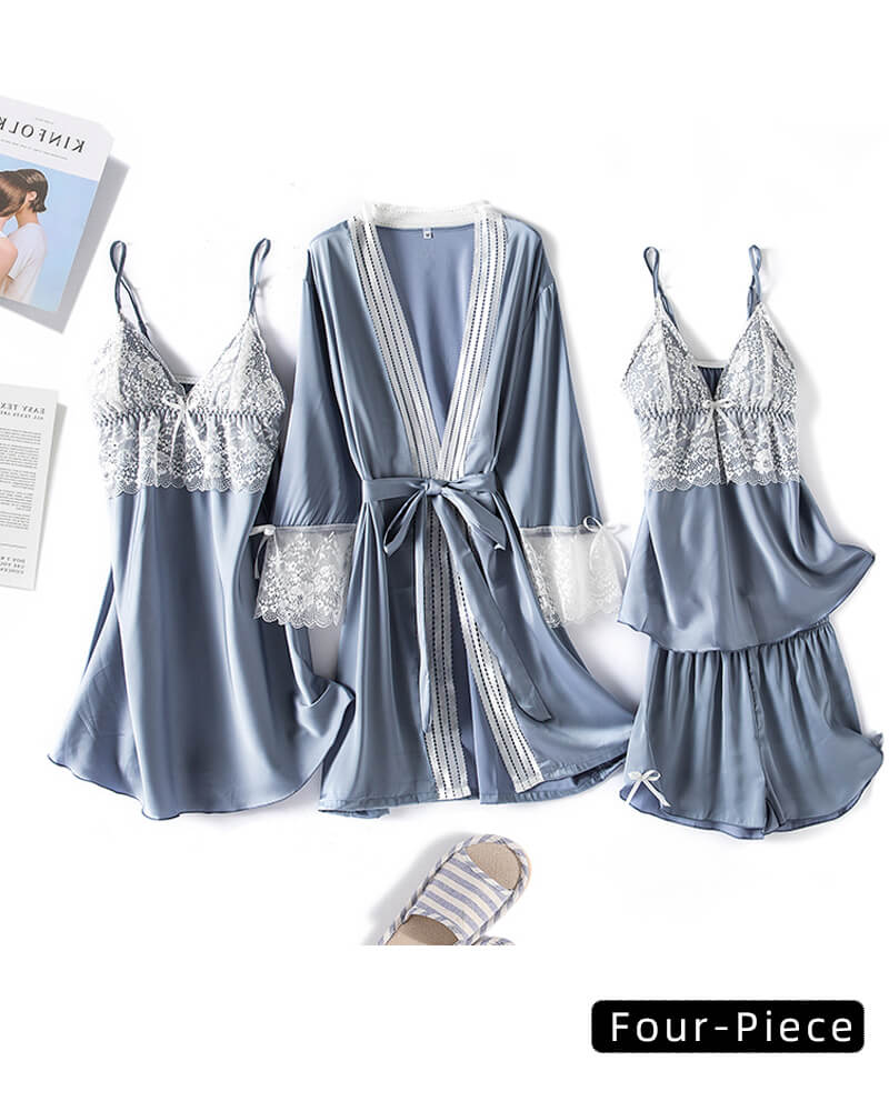 V-Neck Sling Ice Silk 4-Piece Home Service Suit