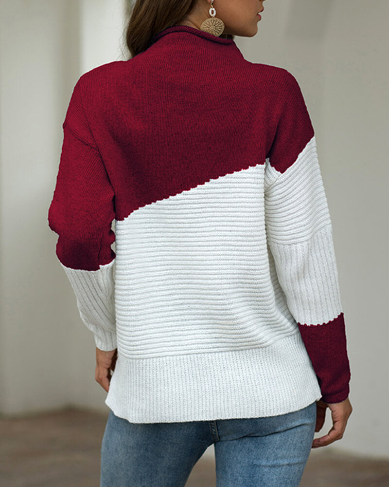 Bicolor Curly Mock Neck Sweater