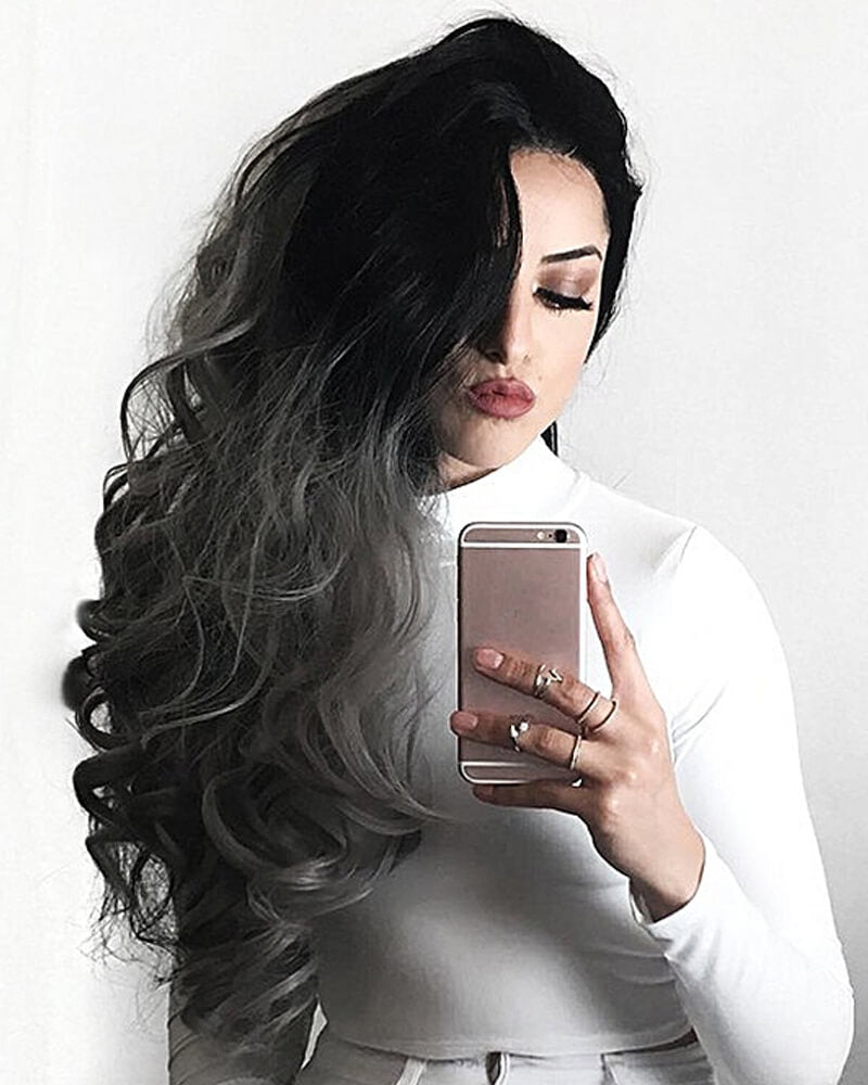 Sliver Gradient Long Curly Wigs