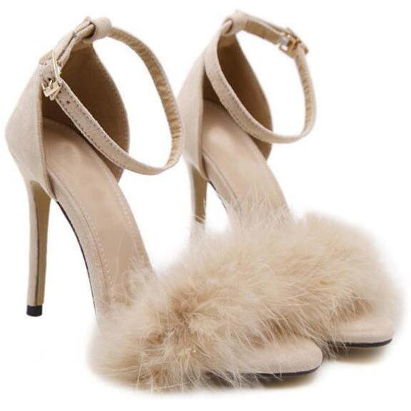 Fur Detail Open Toe High-Heeled Shoes