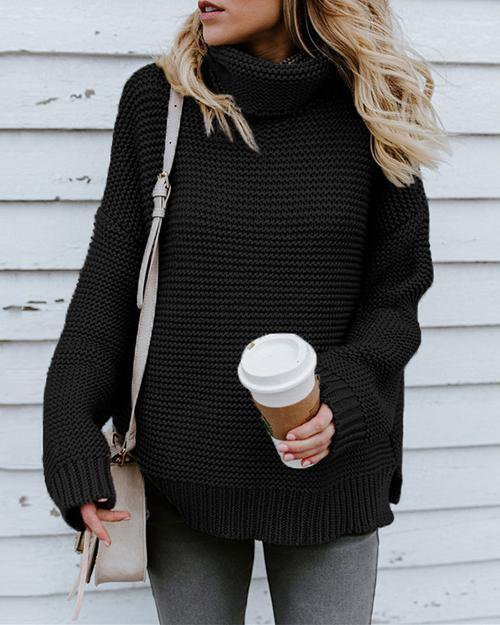 Sunygal Pullover Jumper Turtleneck Knitted Oversized Winter Sweater