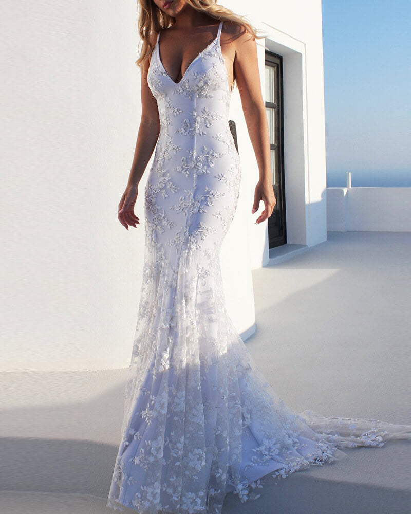 Lace Tulle Mermaid Wedding Dress