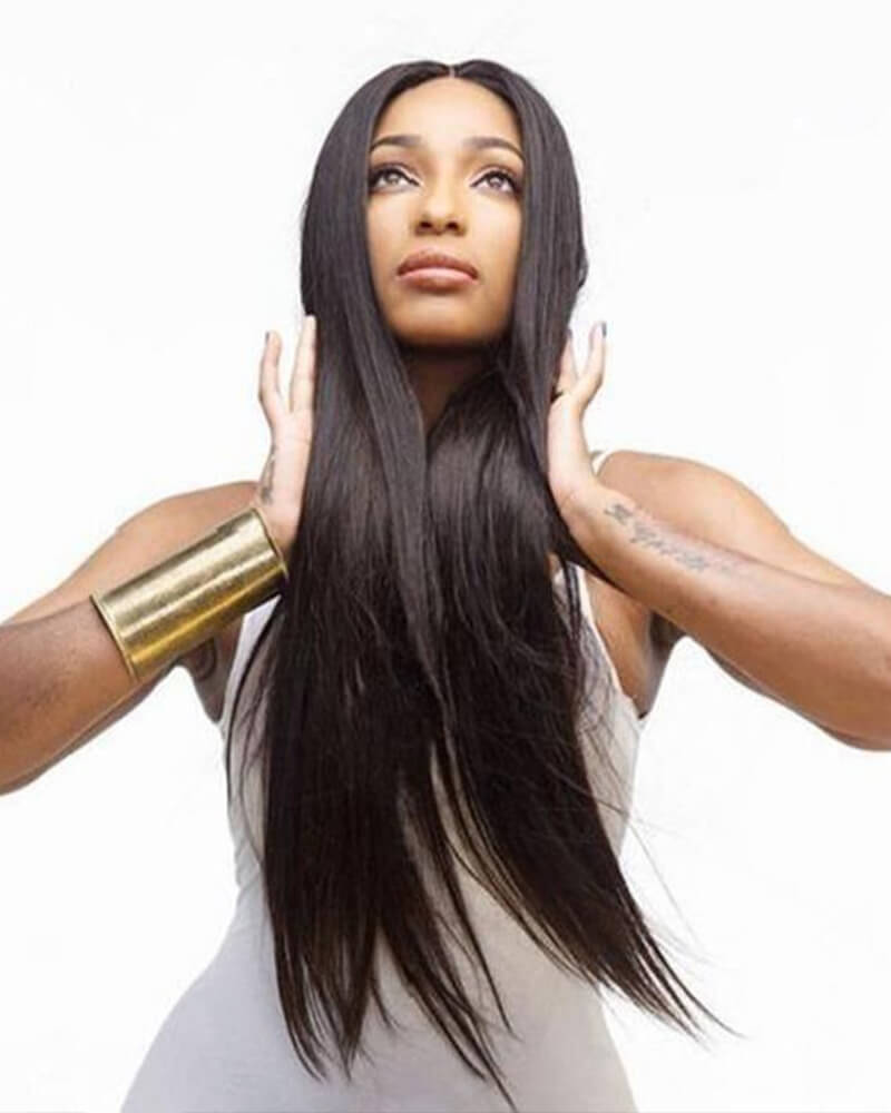 Natural Color Long Straight Synthetic Full Wig