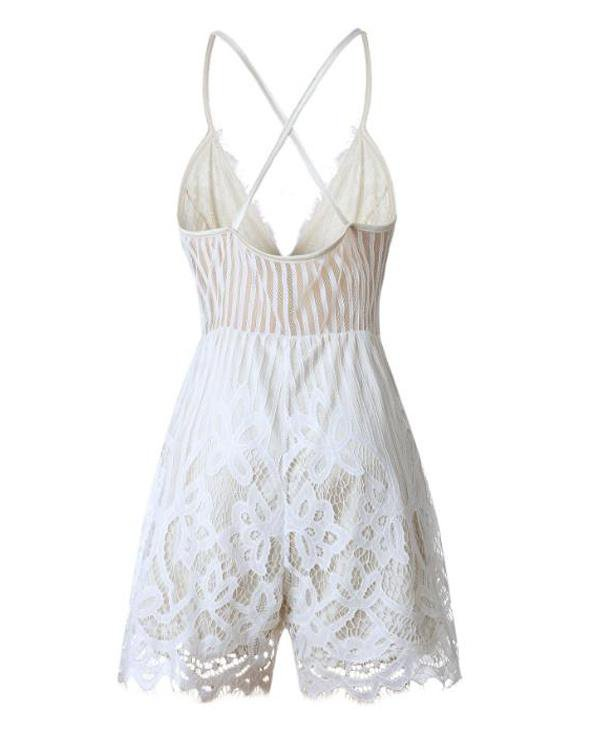 Sunygal White Lace Up Romper
