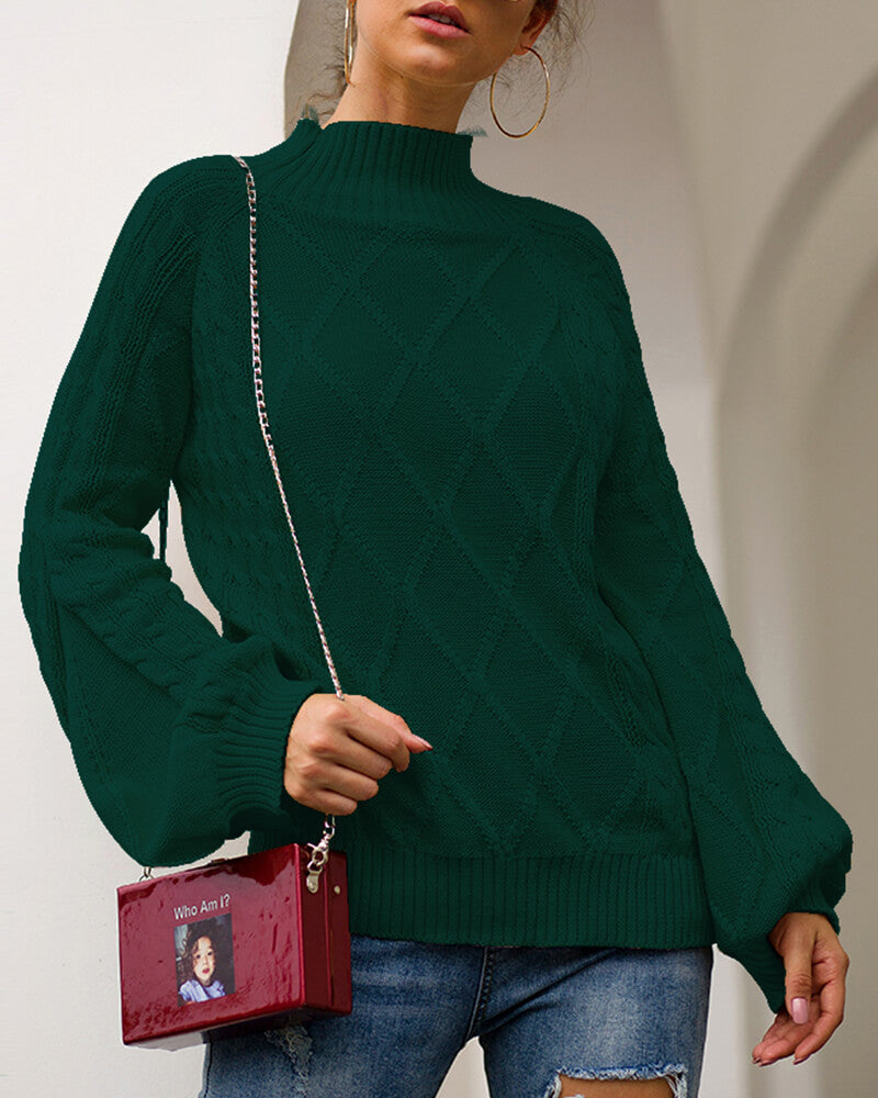 Mock Neck Hubble-bubble Sleeve Sweater