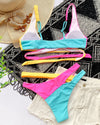 Colorful Wrap Top Bikini Set