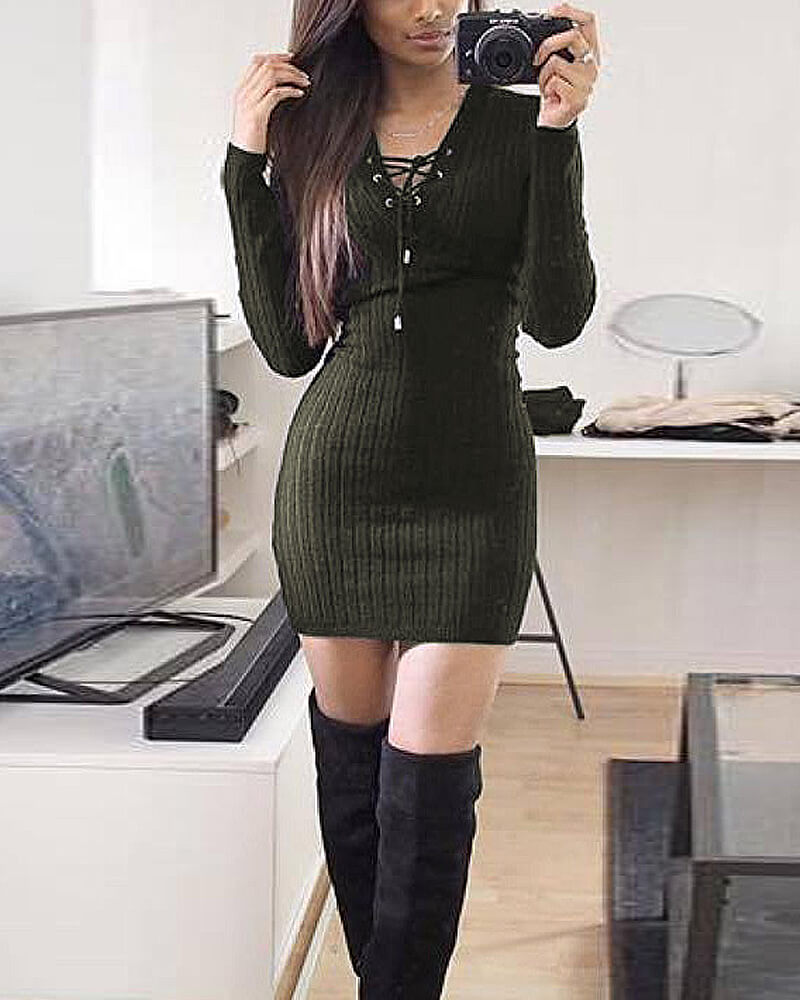 Women's  Strappy Long Sleeve Knitted BodyCon Sweater Dress