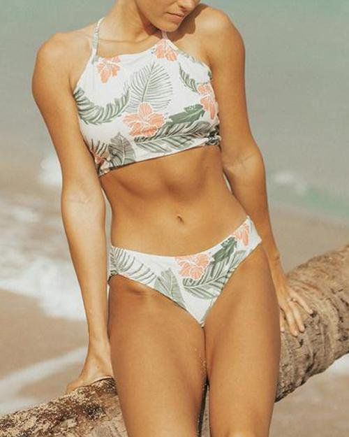 Lace Up Fresh Print High-Waisted Bikini Set