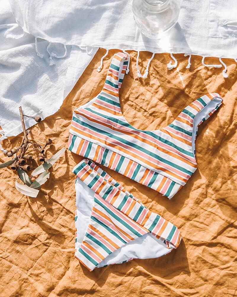 Rainbow Stripes Bikini Set