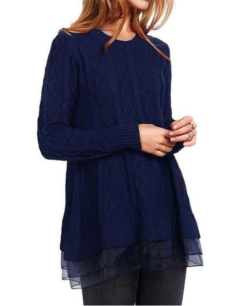 Peplum Hem O-Neck Long Sleeve Sweater