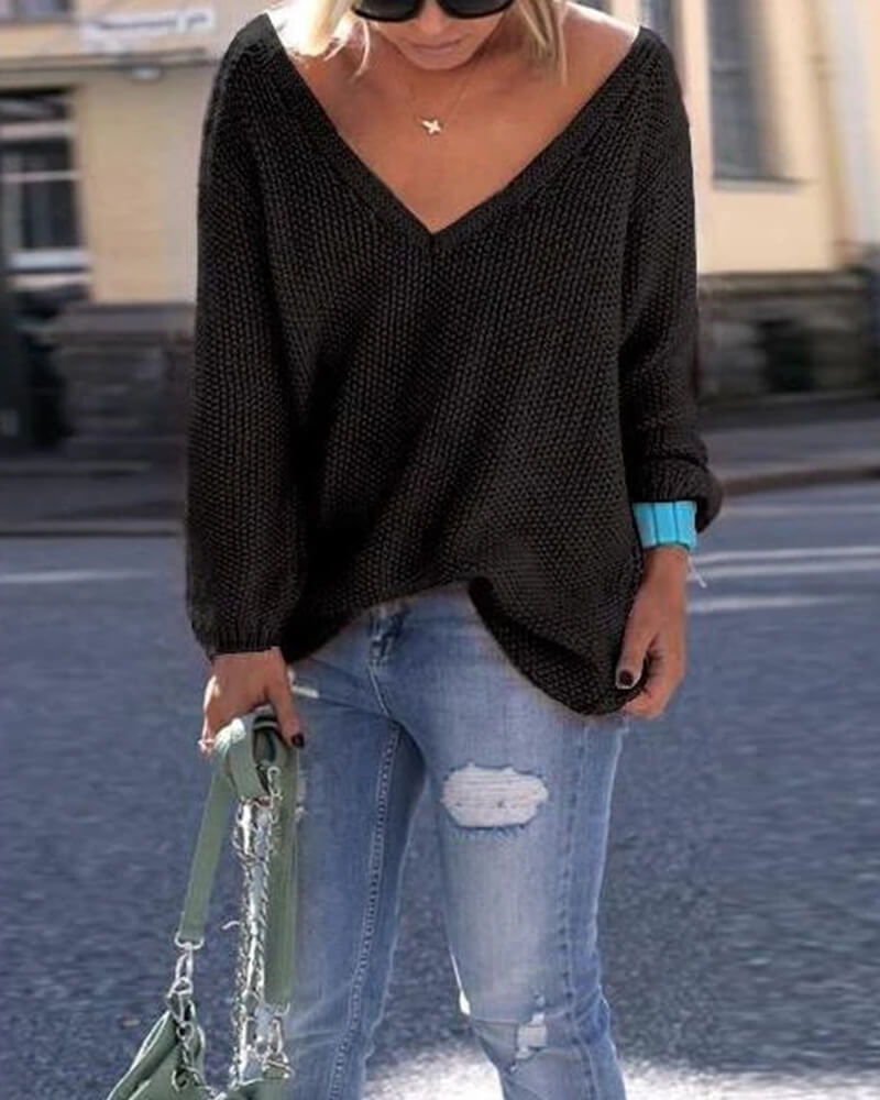 Women's  Pullovers   V-neck  Long Sleeve Loose Sweater