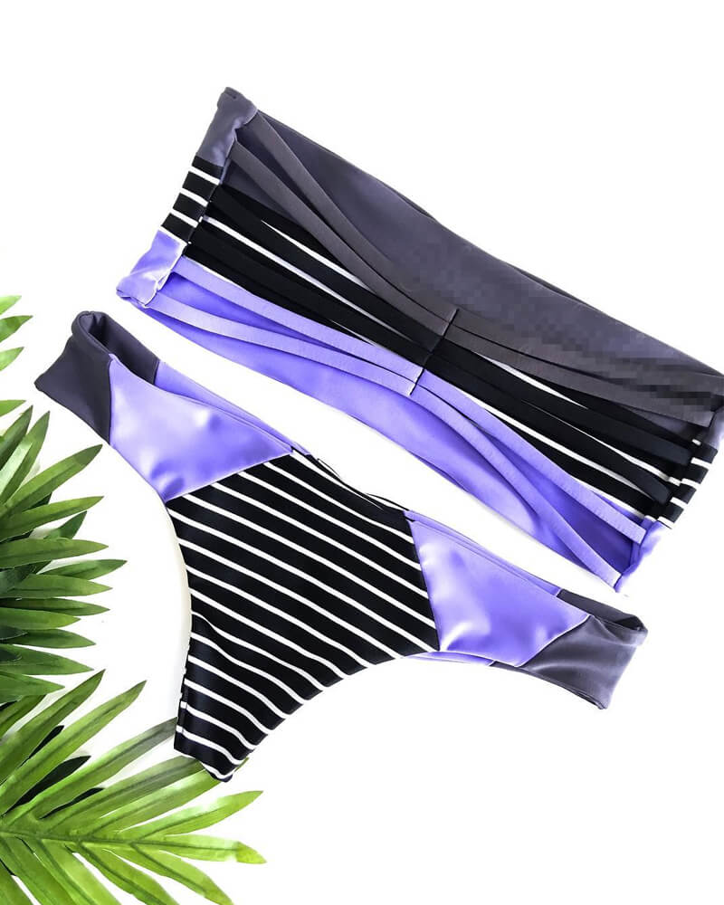 Three Color Splicing Bikini Set