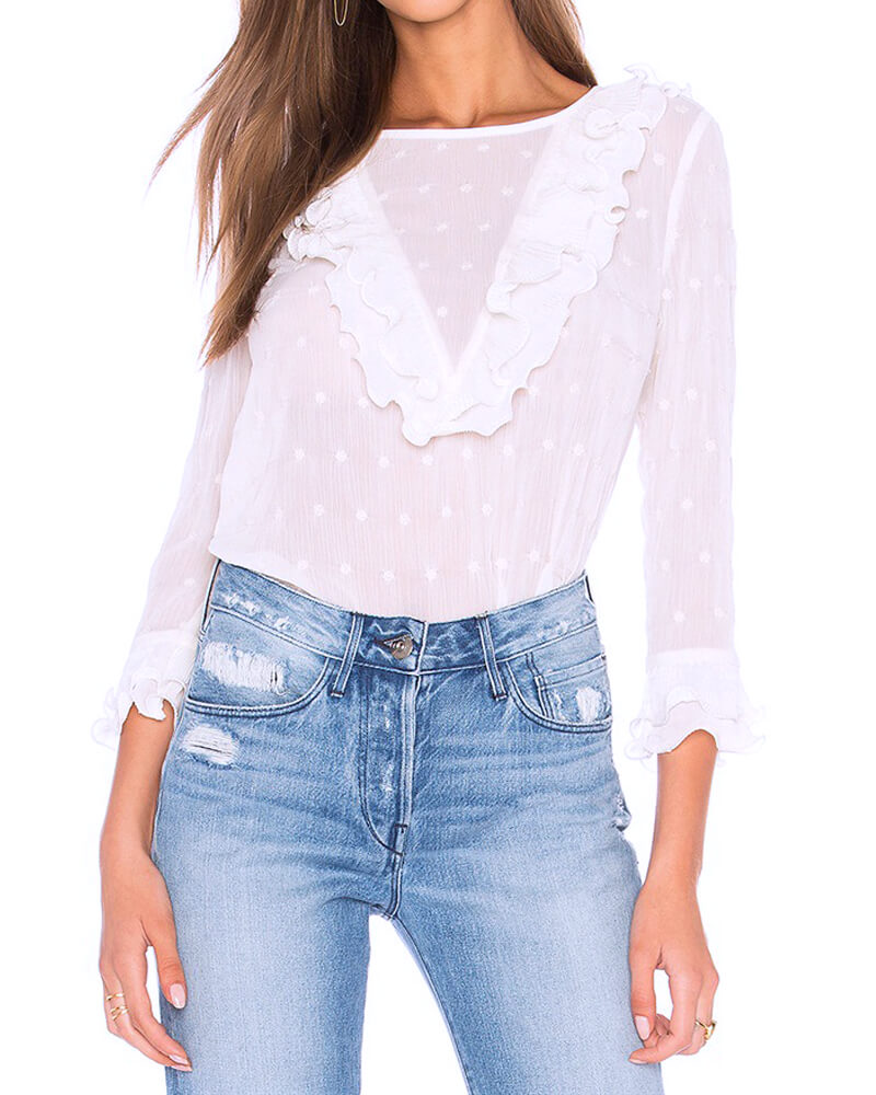 White Polka Dot Ruffles Shirt