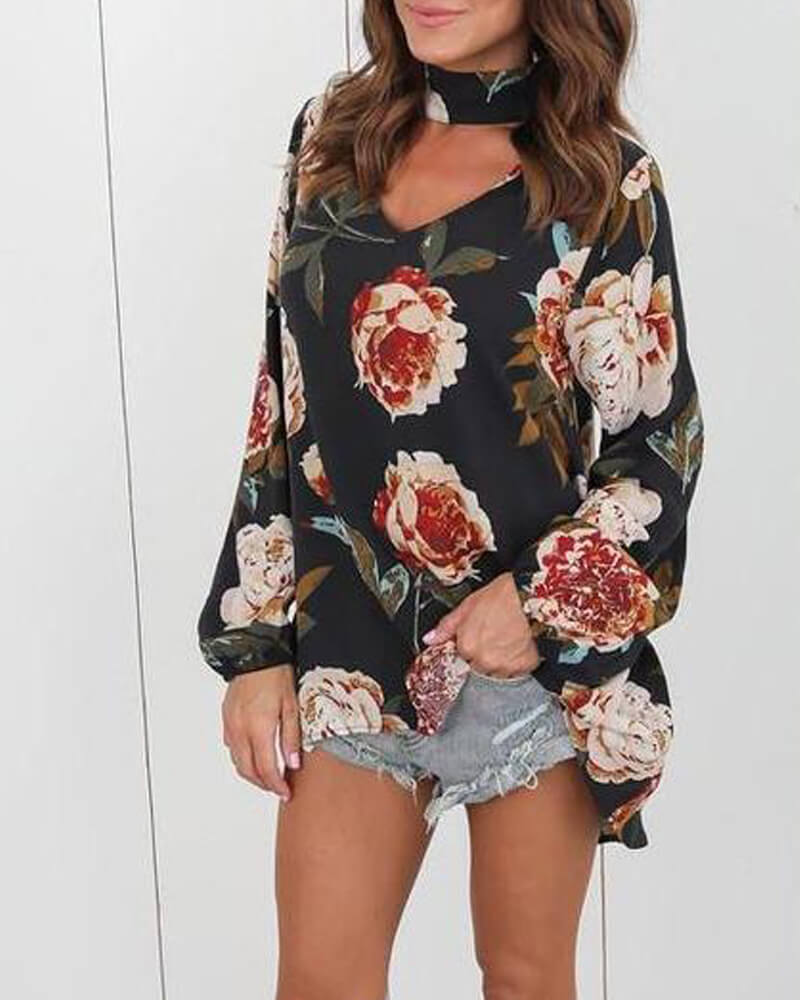 V-Neck Halter Floral Print Top