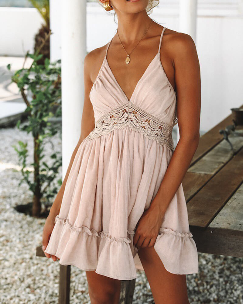 Elegant Lace Halter Mini Dress