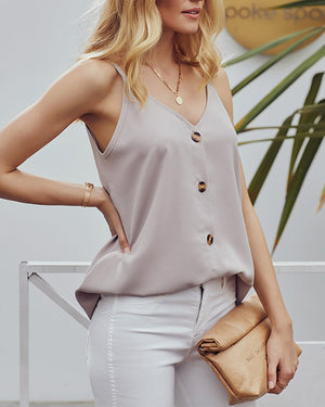 Solid Color Button Front Casul Top