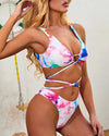 Tie-dye Print Lace-Up Bikini Set