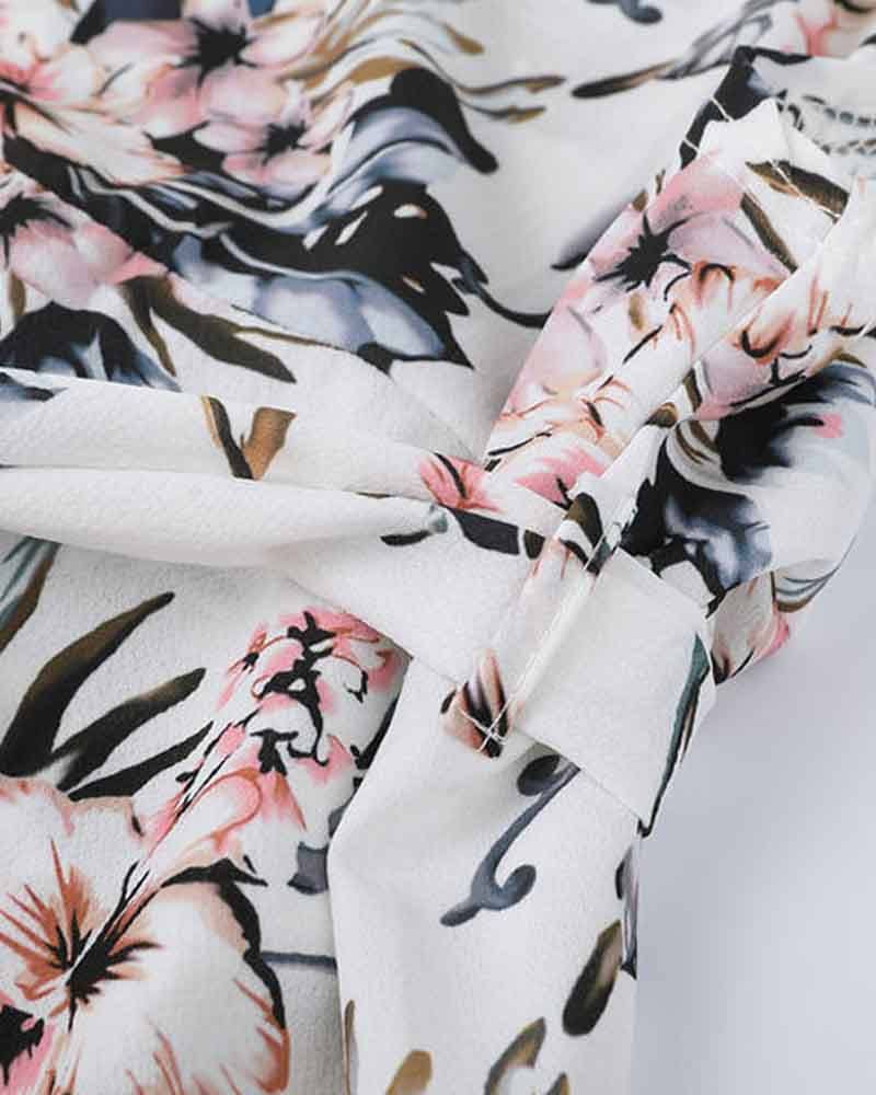 Floral Print Off Shoulder Boho Dress