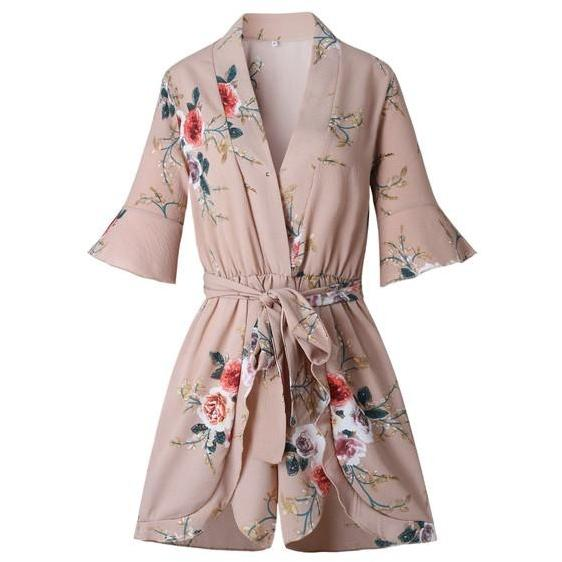 Popular Loose Floral Print Short Sleeve  Jumpsuit Romper