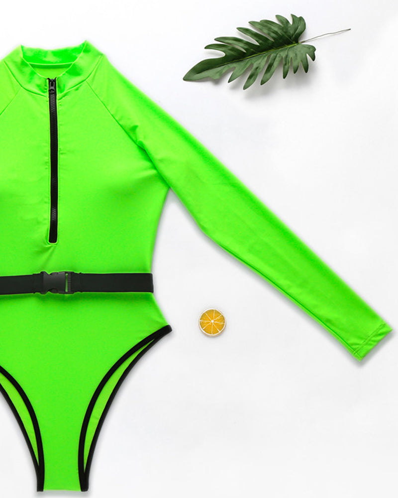 Solid Surfing One-Piece Swimwear