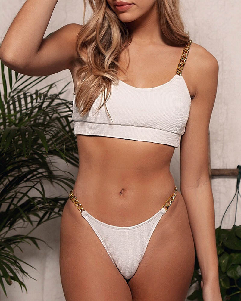 Metal Chain Two Piece Thong Swimsuit