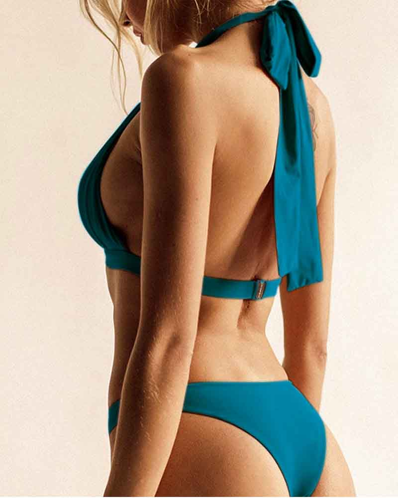 Lace-Up Halter Neck Swimsuit