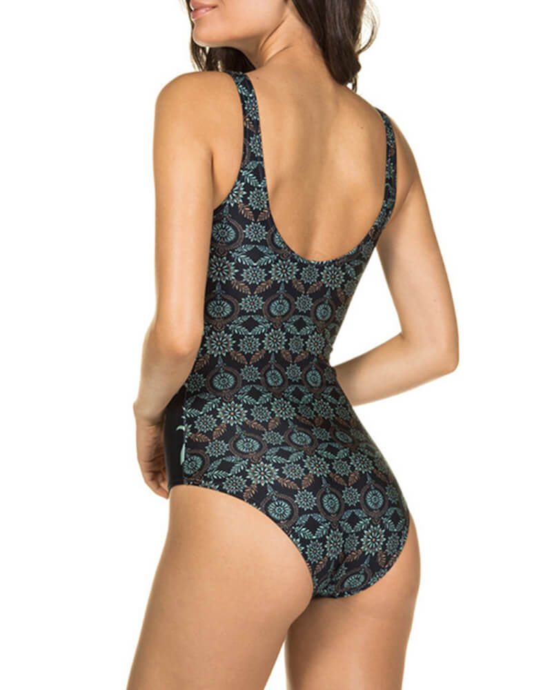Boho Printed High Neck One-Piece Swimsuit