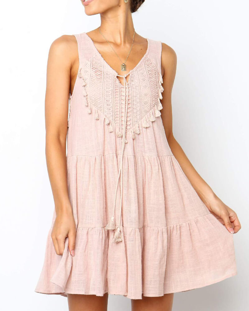 Lace Stitching Chest Tie Dress