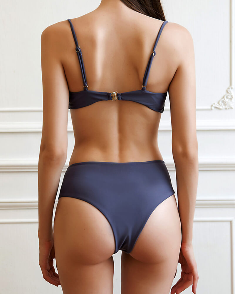 Solid Color Bow High-waist Swimwear