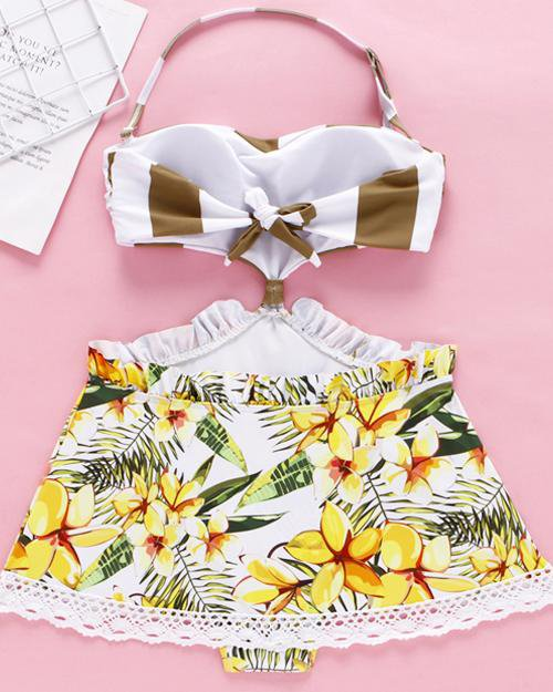 Floral Halter  One-Piece Swimsuit Dress