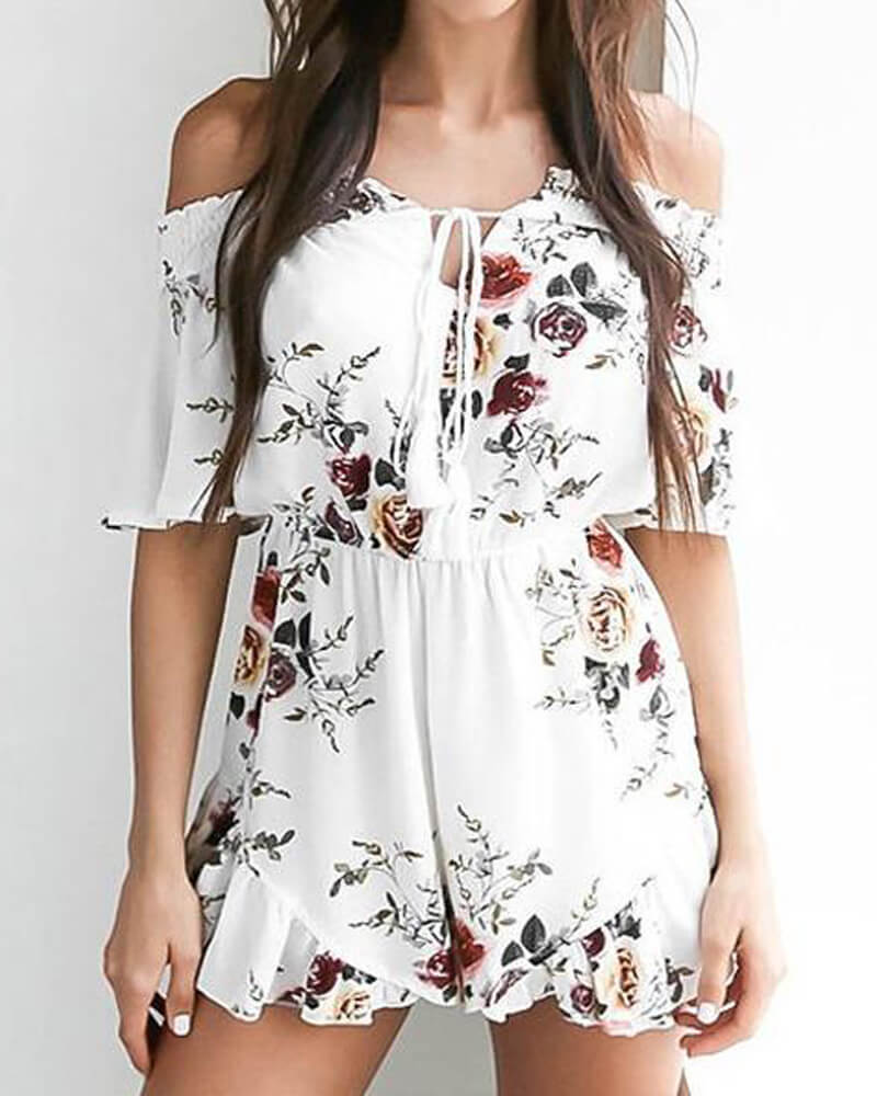 Love Rose Flower Floral Romper