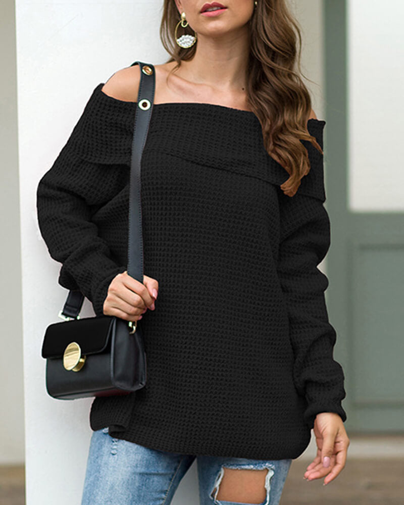 Boat Neck Solid Color Sweater