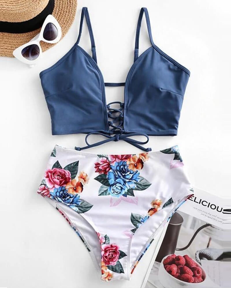 Lace-up Floral Tankini Swimsuit
