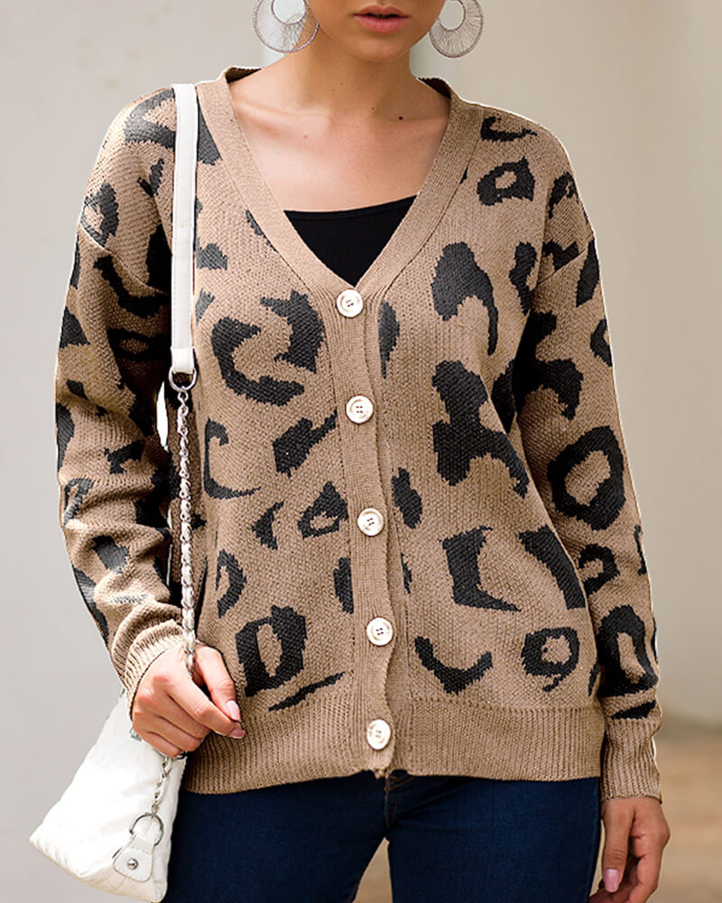 Leopard Print Long-sleeve Knit Cardigan