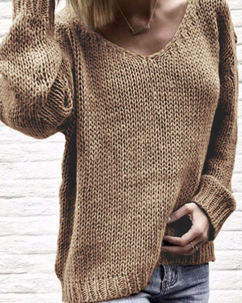 V-Neck Loose Knit Pullover Sweater