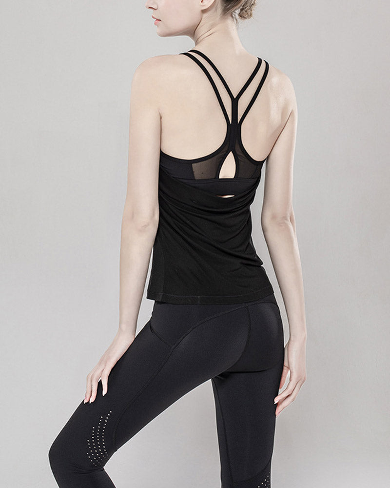 Strappy Back Slim Fitting Workout Tops