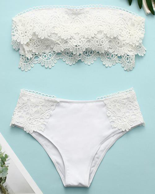 Lace Up Solid Color Bikini Set