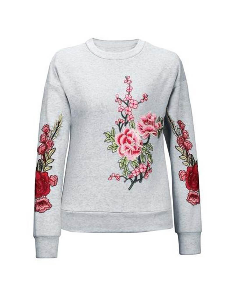 Crew Neck Floral Print Long Sleeve Sweatshirt