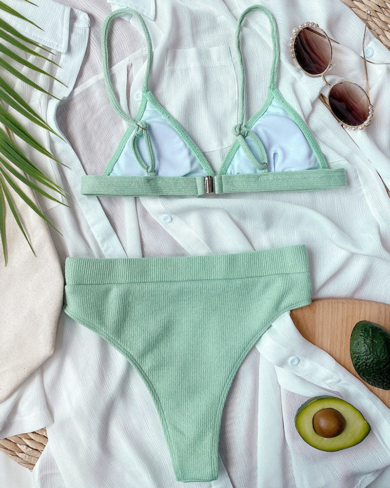 Solid Candy Color High Waisted Bikini Set