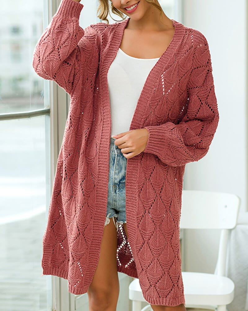 Diamond Hollow Knit Cardigan