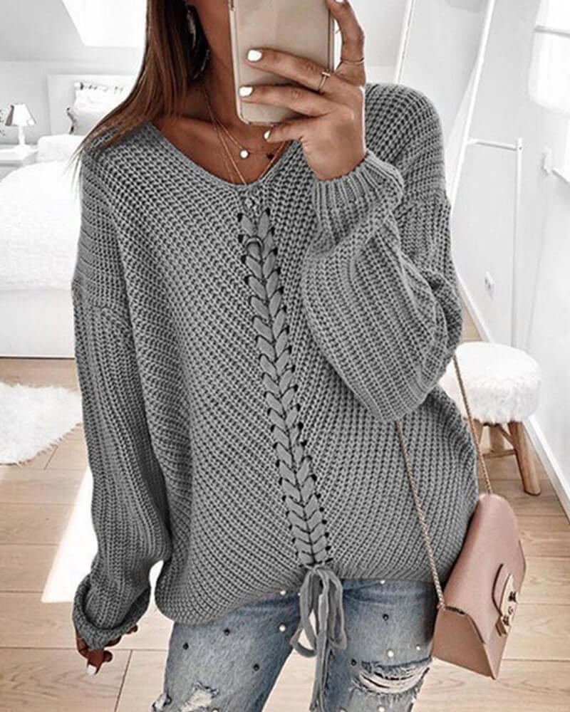 Long Sleeve Paneled V Neck Sweaters