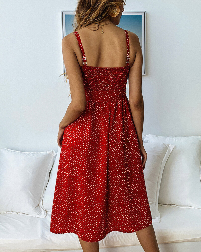 Simplee Elegant button Polka Dots Dress