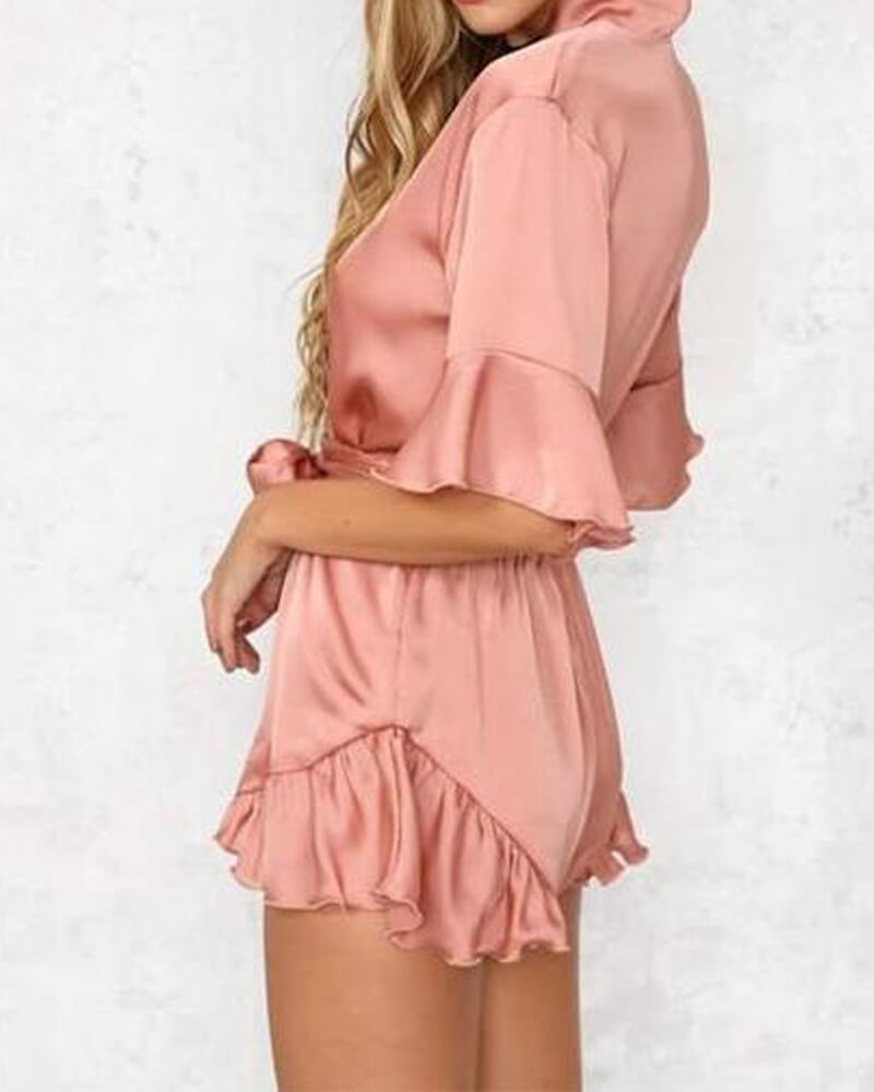 Pleats Details Plunging Robbin Belt Romper
