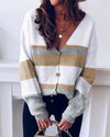 Sunygal Women Color Block Cardigans Striped Button Down V Neck Long Sleeve Sweater