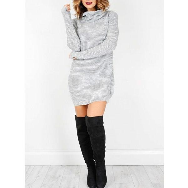 Popular Ribbed Turtleneck Casual Sweater