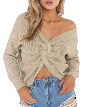 More Looks Style Causal Open Back  Knitted Sweater