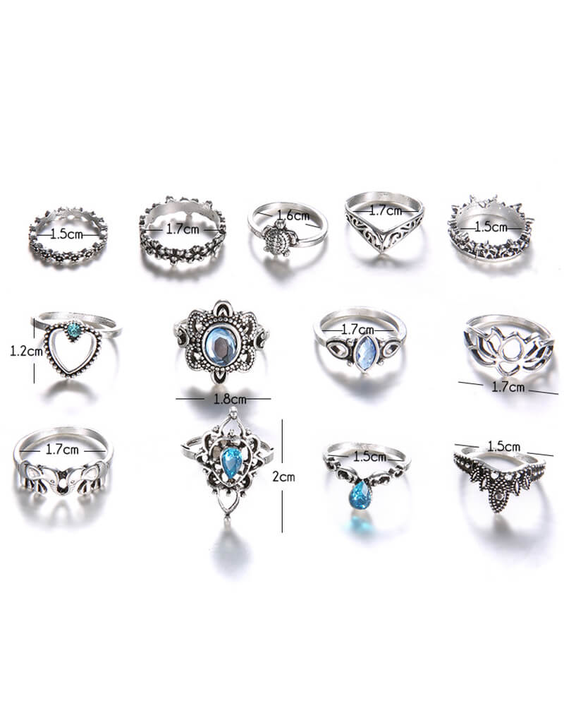 Blue Zircon Stackable Silver Rings