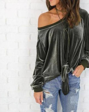 Velvet Knotted Loose Long Sleeve Blouse